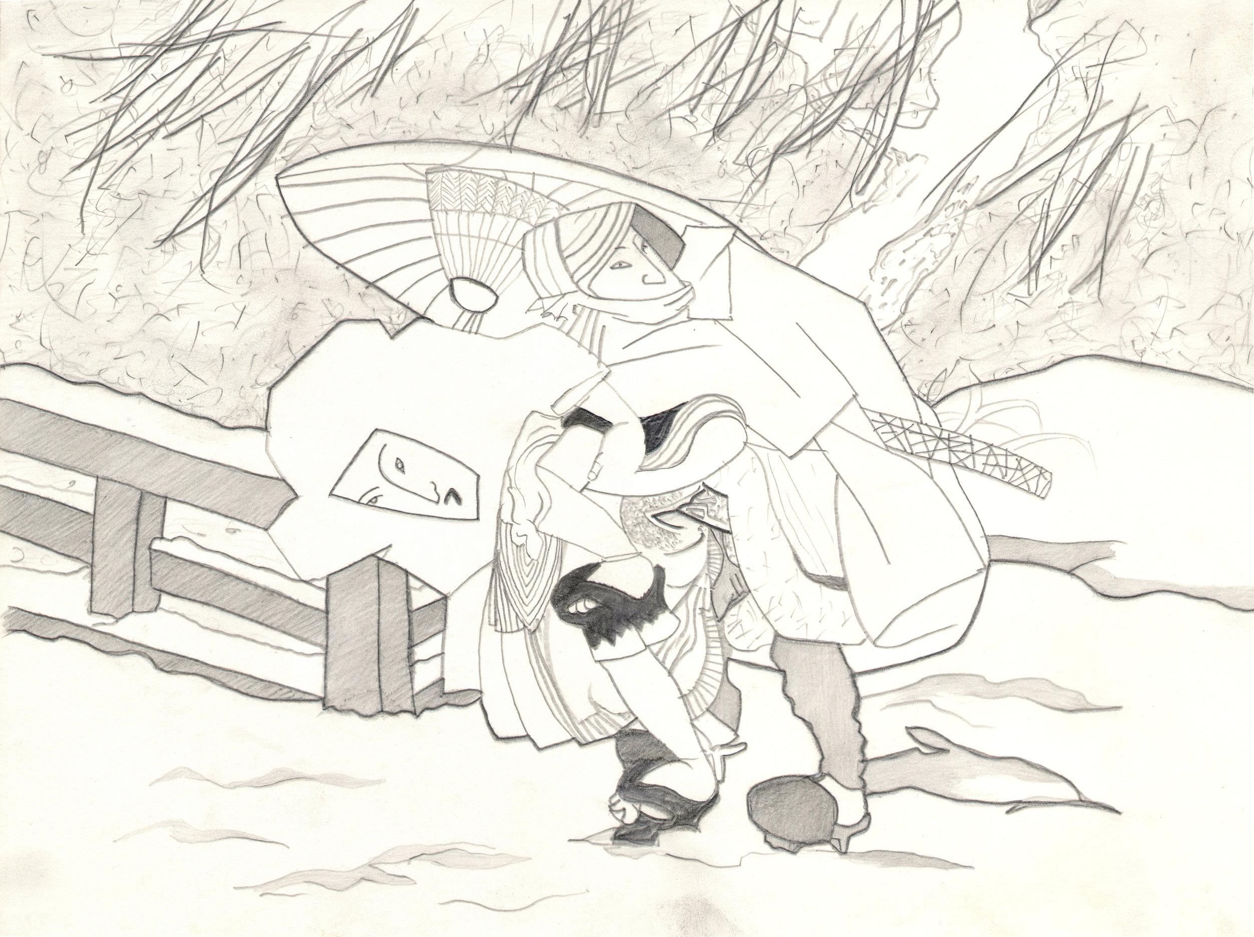 O.T. ( Serie Shunga IV ), 2015  26x35.5cm, Bleistift auf Papier