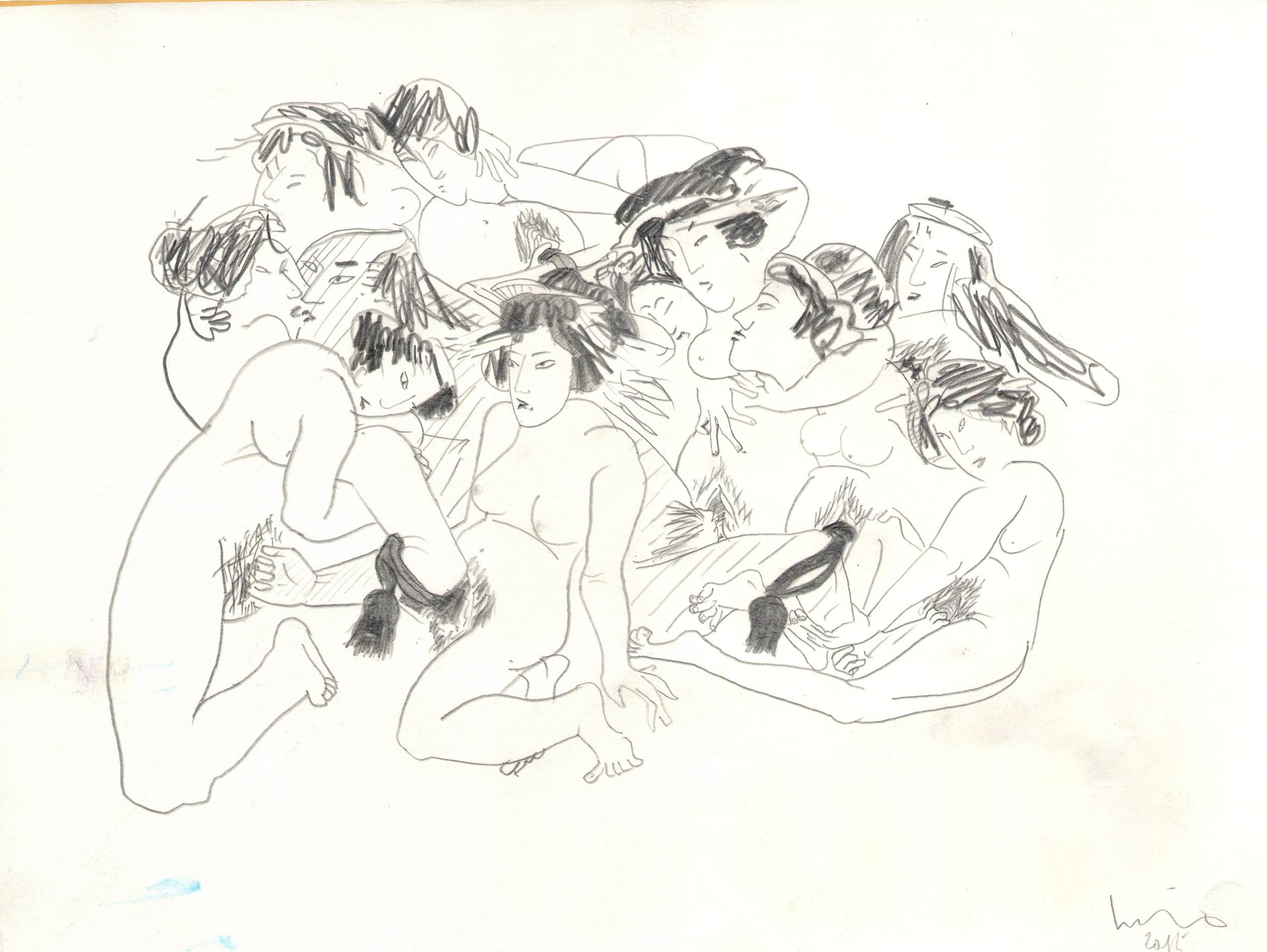 O.T. ( Serie Shunga III ), 2015  26x35.5cm, Bleistift auf Papier