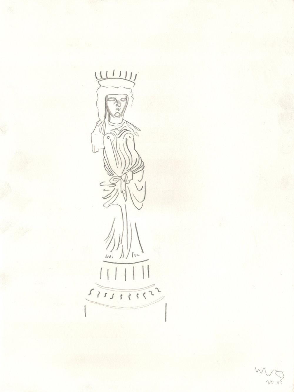 O.T. ( Statue ), 2015  26x35.5cm, Bleistift auf Papier