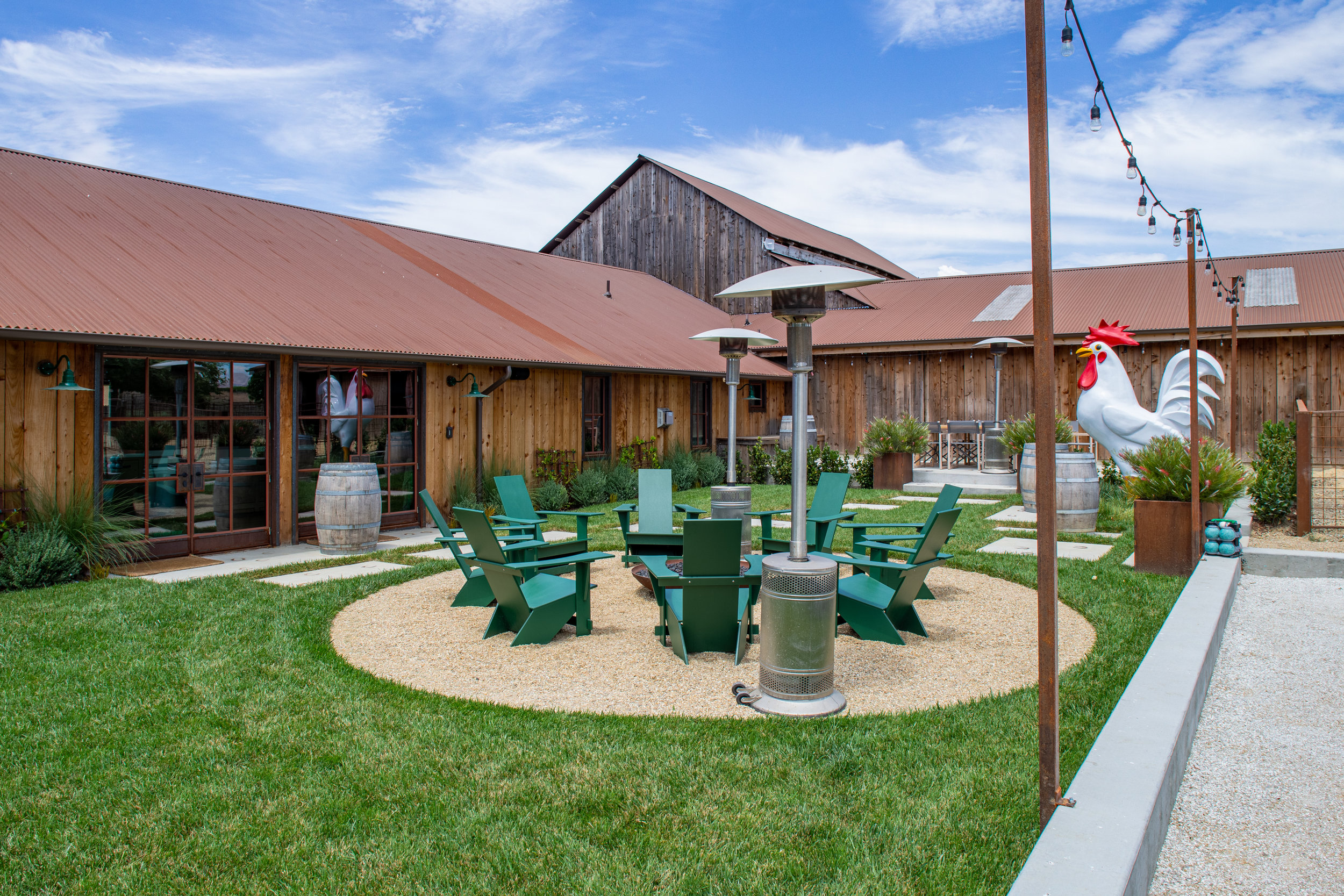 outdoor - from bbqs to bocce ball, this outdoor space is both ready for fun and relaxation. the setting is 360 views of edna valley's finest vineyards and rolling hills. you can sit around the fire pit while sipping on A CAN OF one of our complimentary ASSORTED slo brEW BEERS. or you can cruise around and check out the many farm animals on the property.