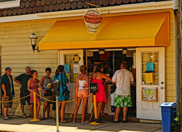 Hungry beach-goers wait in line at Hot Dog Tommy's in Cape May, NJ