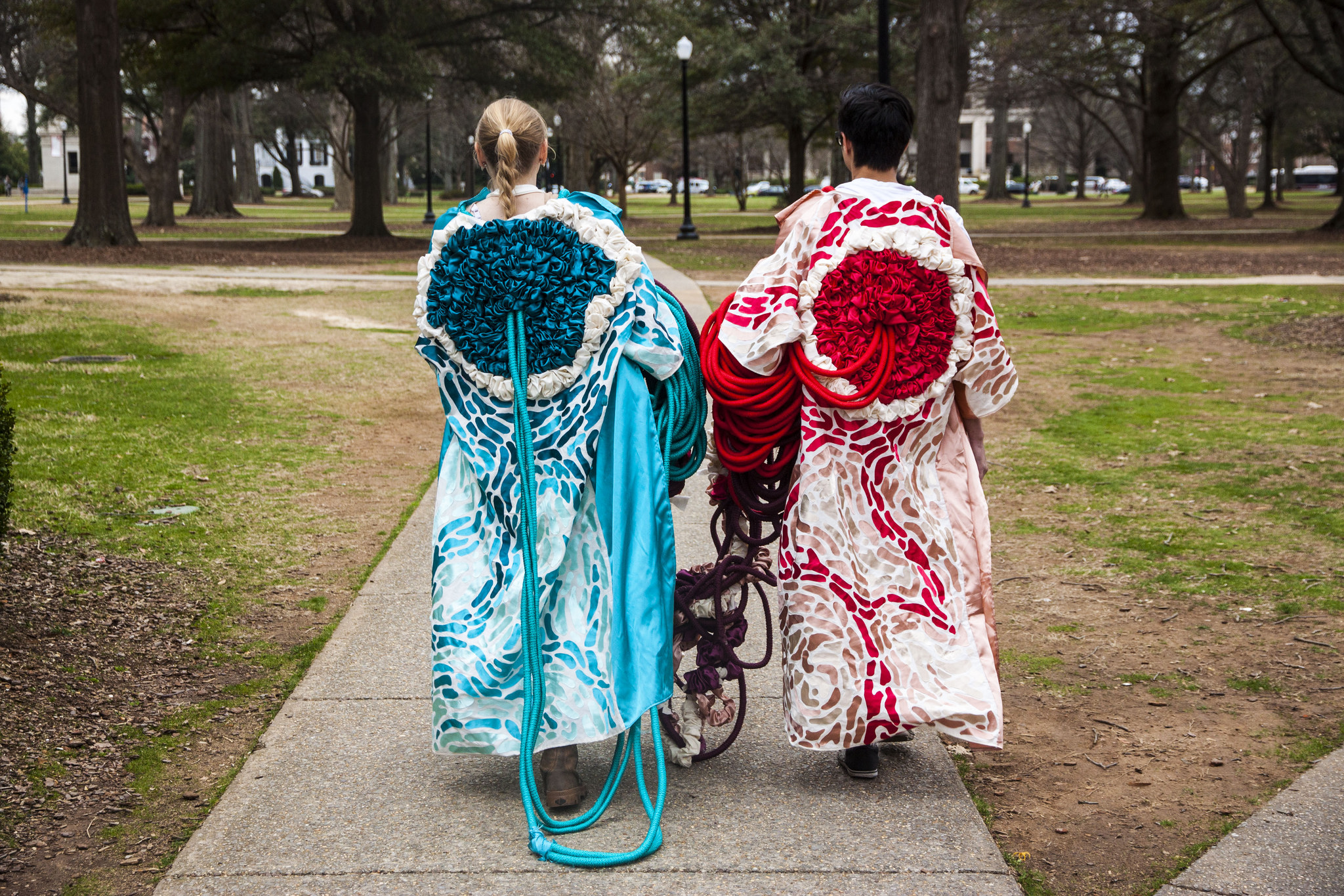 Together / Apart, 2015 . Performance. Cotton piping, fabric, macrame, hot glue.