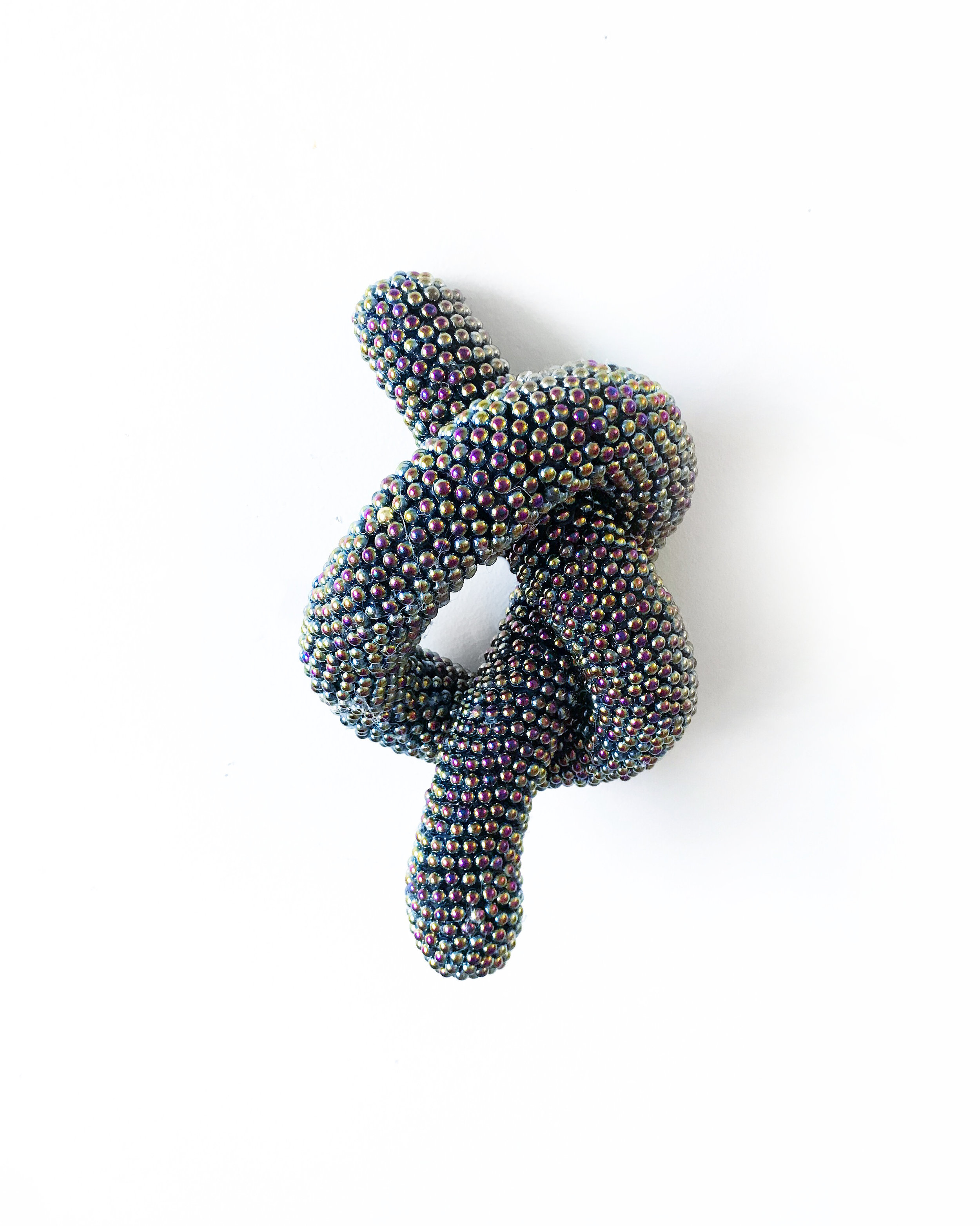 Bubble Spots Knot , 2019. Wire, macrame, cotton piping, and flatbacked pearls.