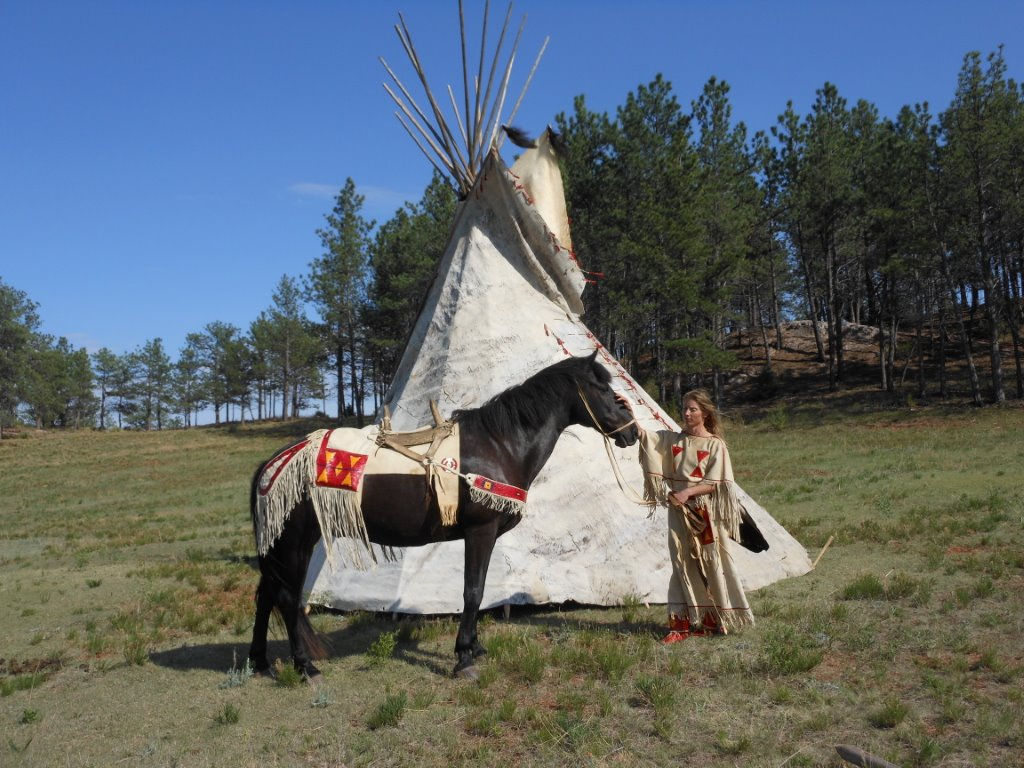 This is one of our Indian-type horse by my hide tipi.