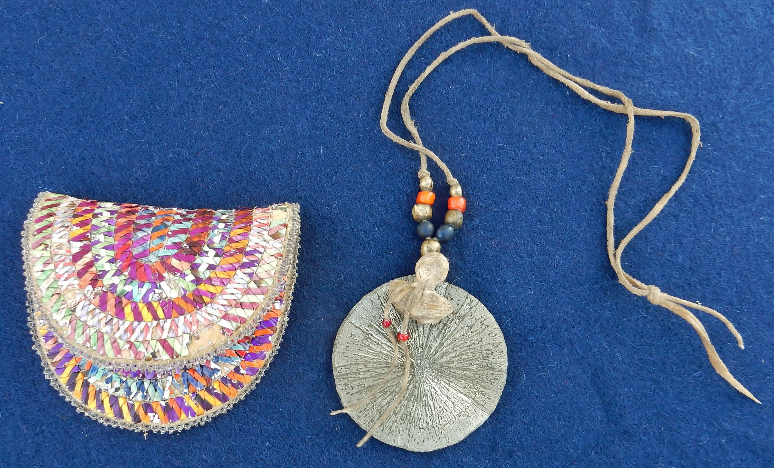 Front of Big Foot's Ghost Dance medallion and quilled pouch