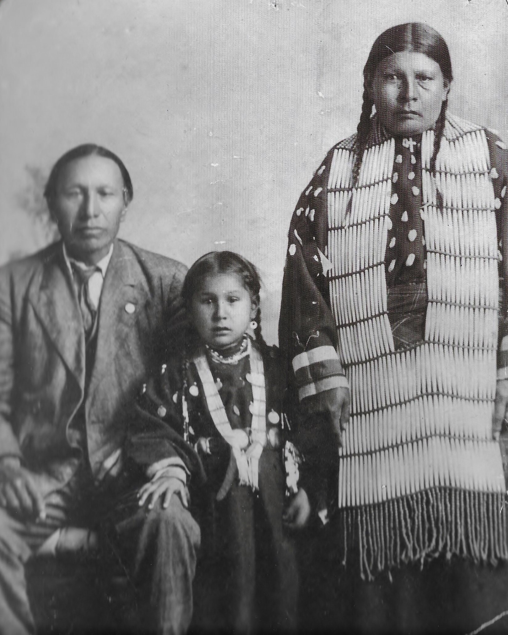 Nicholas Black Elk with wife and daughter