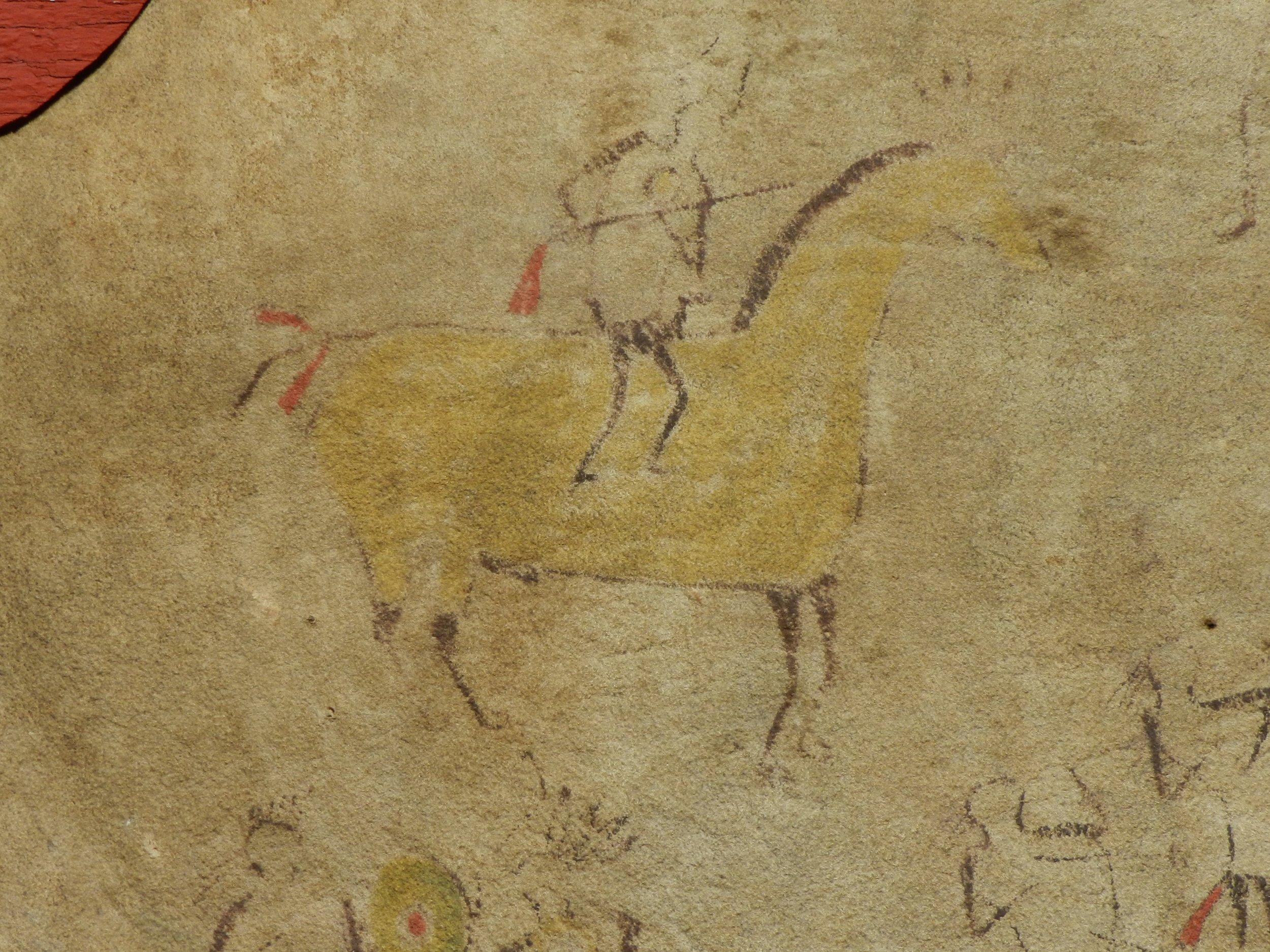Horse with war bonnet on head