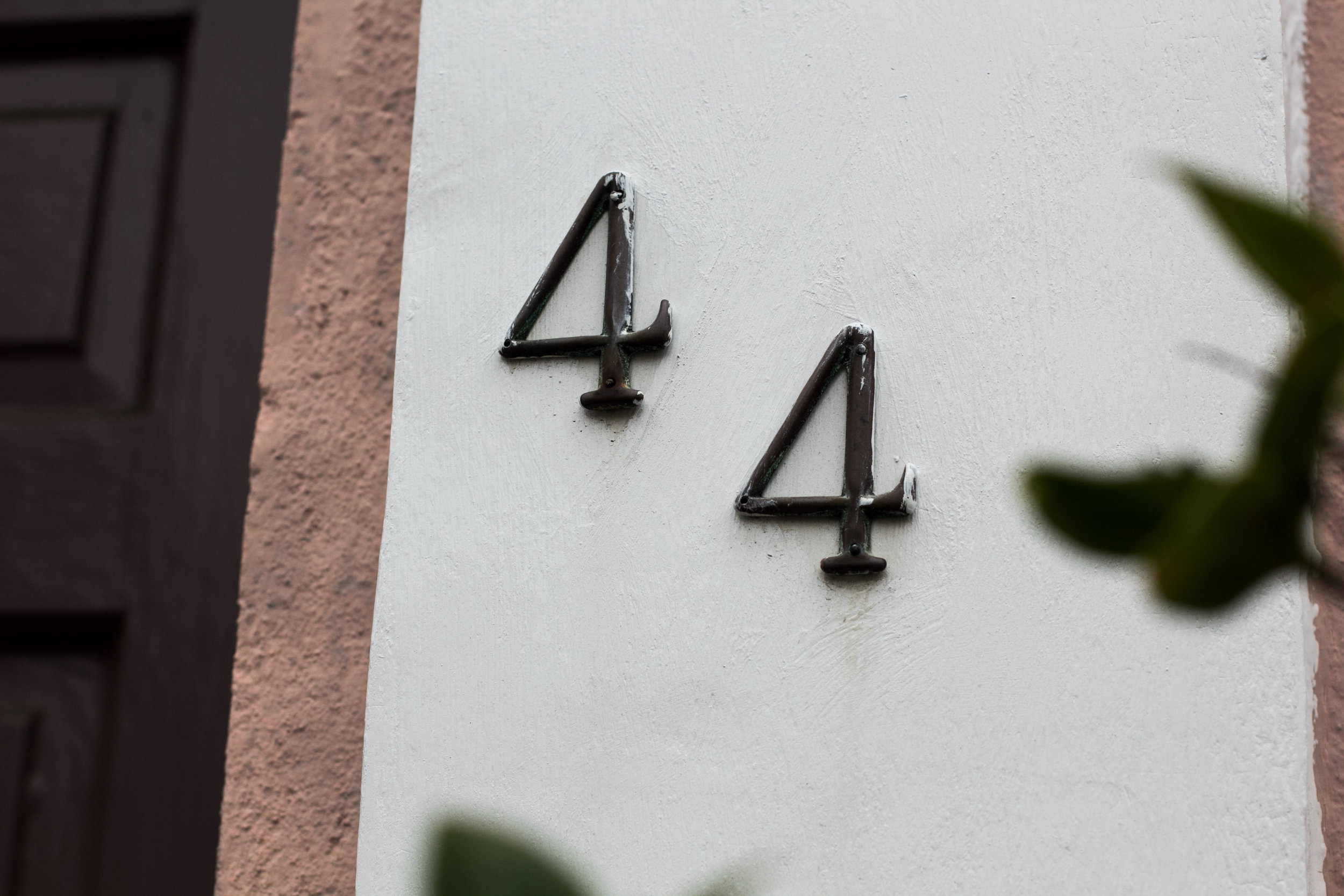 Address on the property or the mailbox