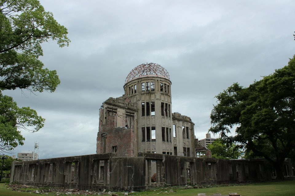 Atomic Bomb Dome, which was located almost underneath of the atomic explosion, is now a symbol of Hiroshima and a focus for prayers for world peace.