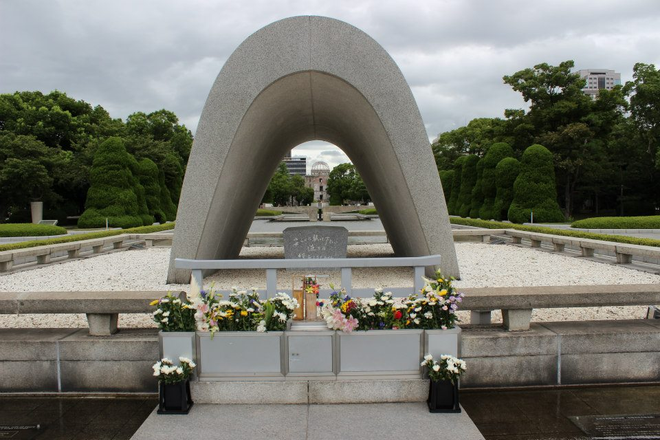 "Cenotaph for Atomic Bomb Victims holds the names of victims, which carries an epitaph meaning ""Please rest in peace, for we shall not repeat the error""."