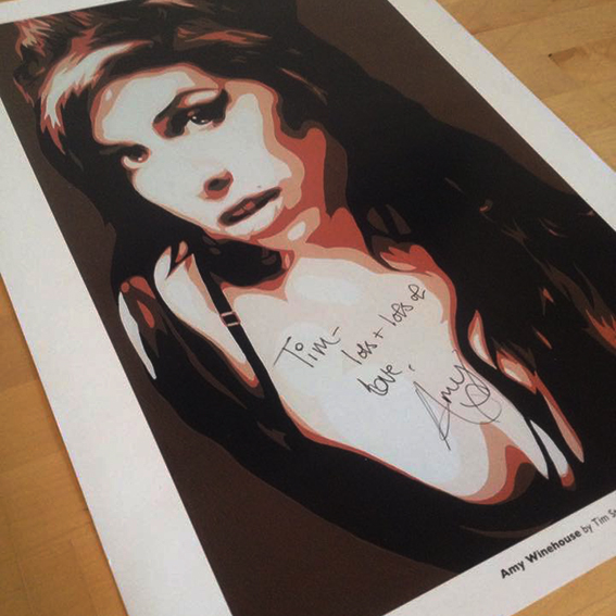 Signed Amy Winehouse print from 2007.