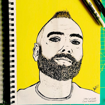 Self Portrait using Graphic Pens