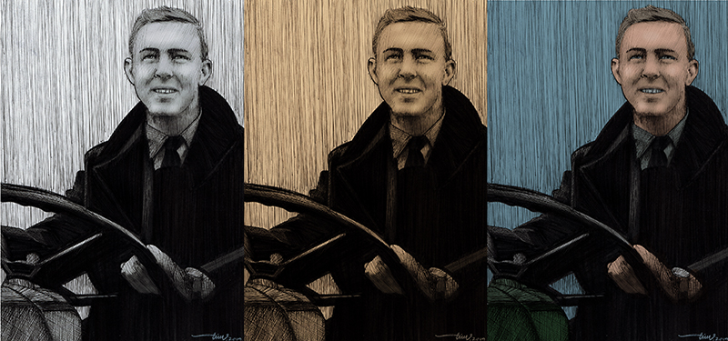 Commissioned as a retirement gift. The customer was unsure whether to choose black & white, sepia or colour when originally discussed. Once the drawing was complete I was able to scan it, give it different choices with digital colouring and send to the customer for approval. The middle image (sepia tones) was selected.