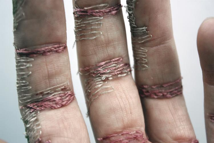 A Woman's Work Is Never Done    2012  Flesh, thread, digital print.