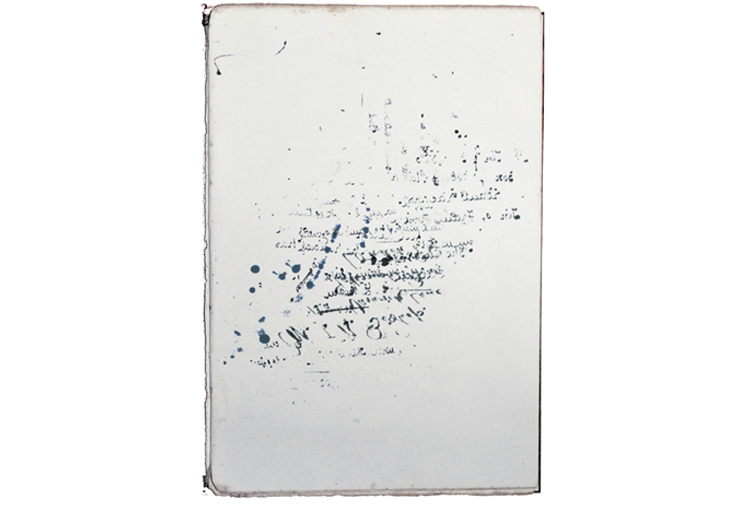 Language Without Words    2016  Ink, blotting paper    27 x 18 cm  Exploring the connection between language and gesture. My sources are anonymous, unearthed from inside antique writing boxes and half used writing sets out of house clearances. I was struck by the beauty of these erased 'mistakes' (perhaps a record of 'subliminal excess' imperceptible even to the writer).
