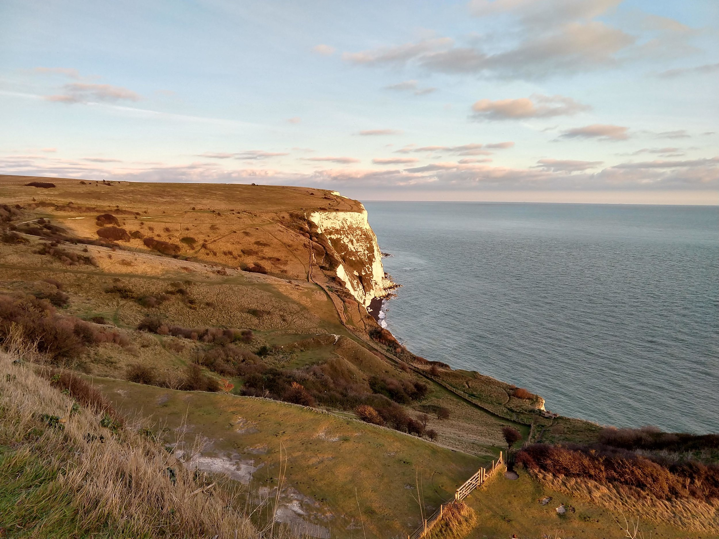 Golden hour at the Cliffs of Dover on Christmas Day