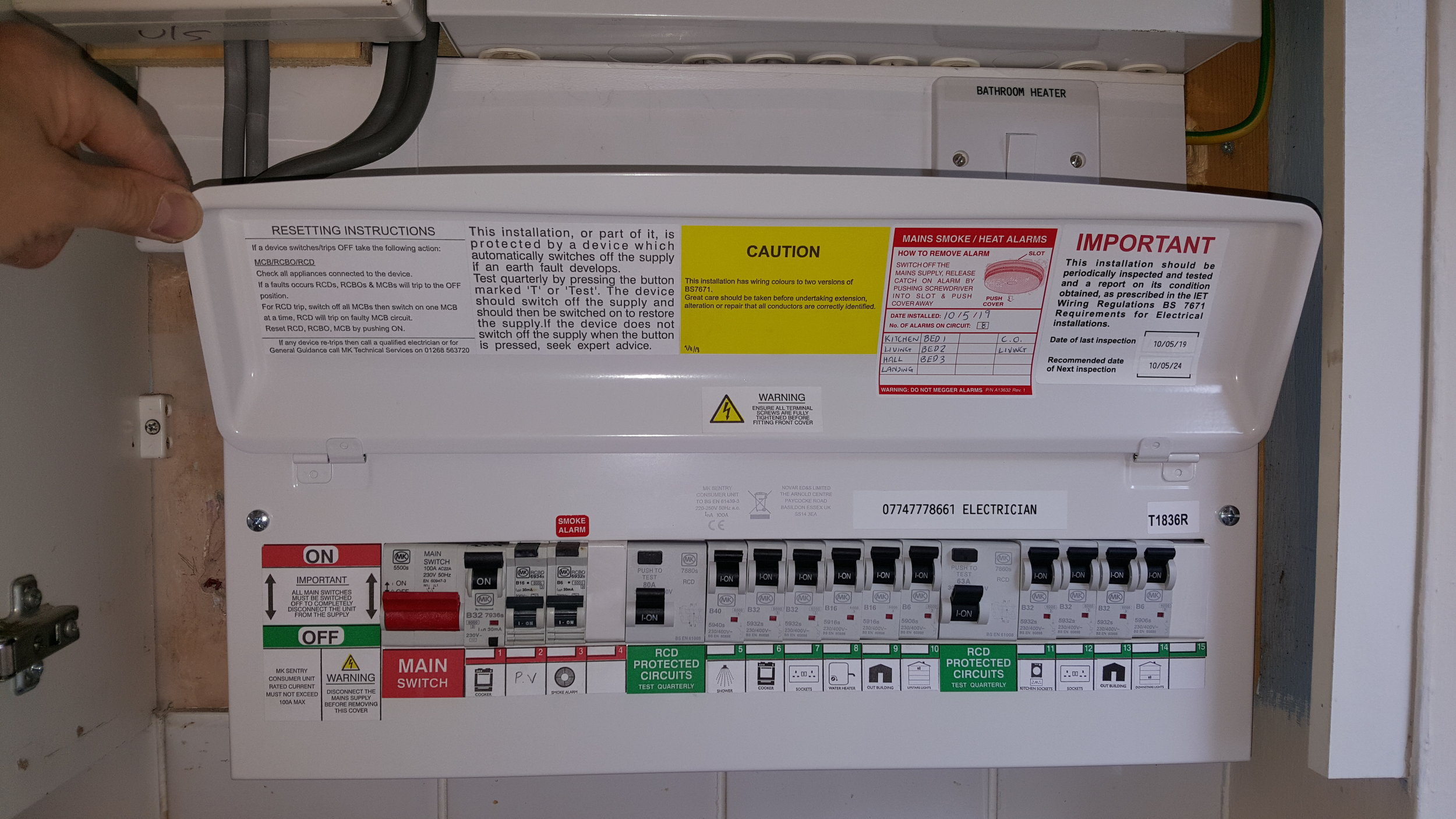 Fire rated RCBO and RCD protected consumer unit