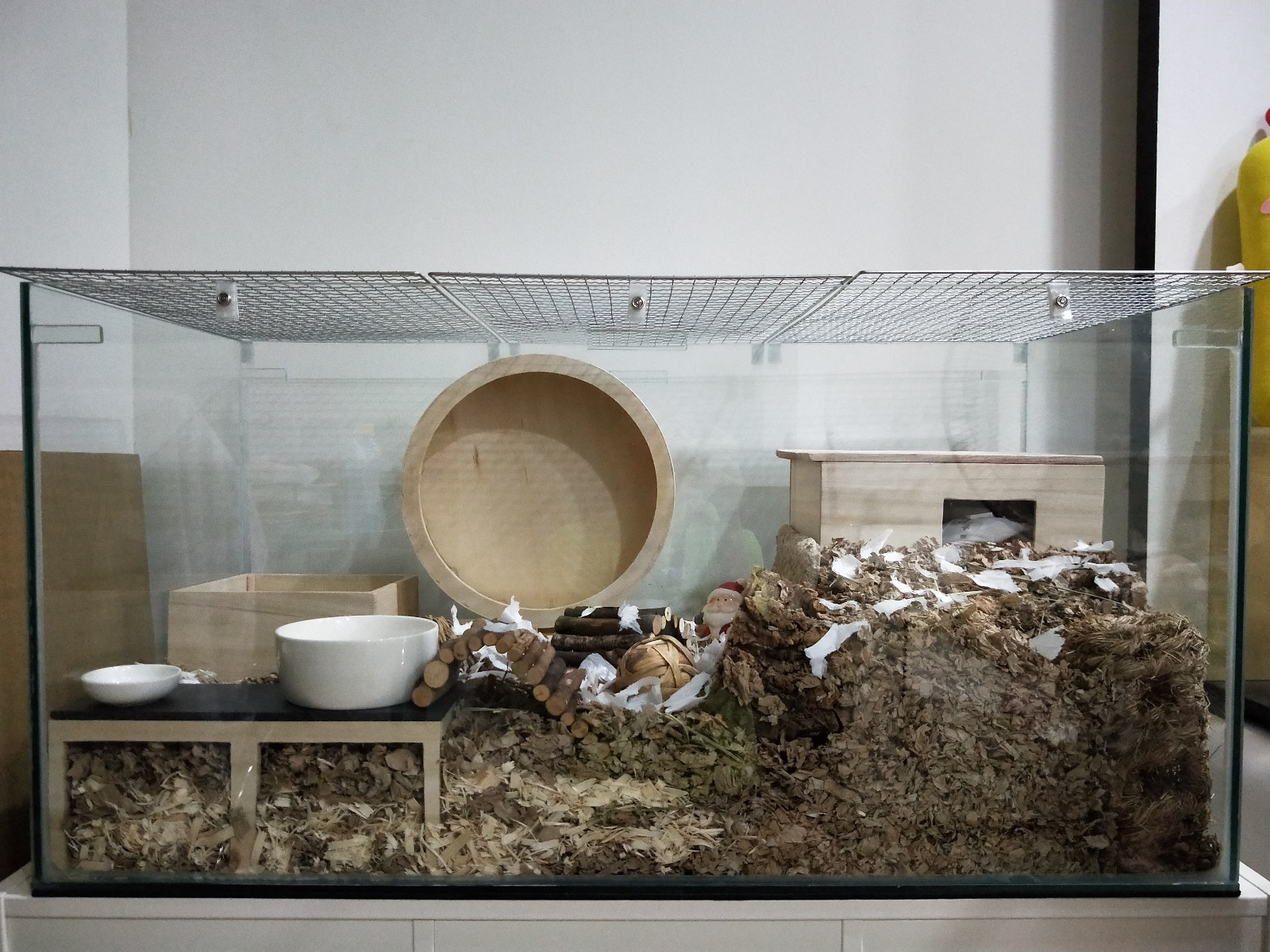 "digging zone - make one by putting extra deep bedding creating a ""mountain"" at a corner of your hamster's cage"