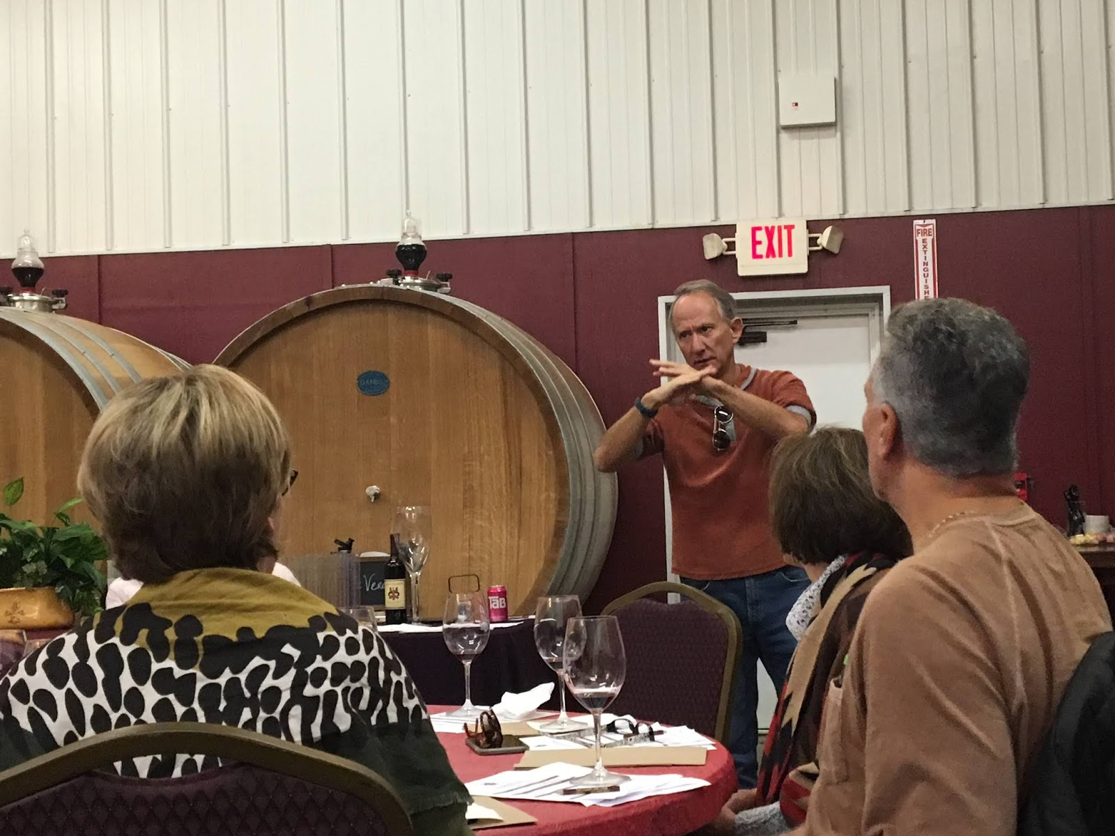 Jay Raffaldini leads a group in wine blending during the Assemblaggio.