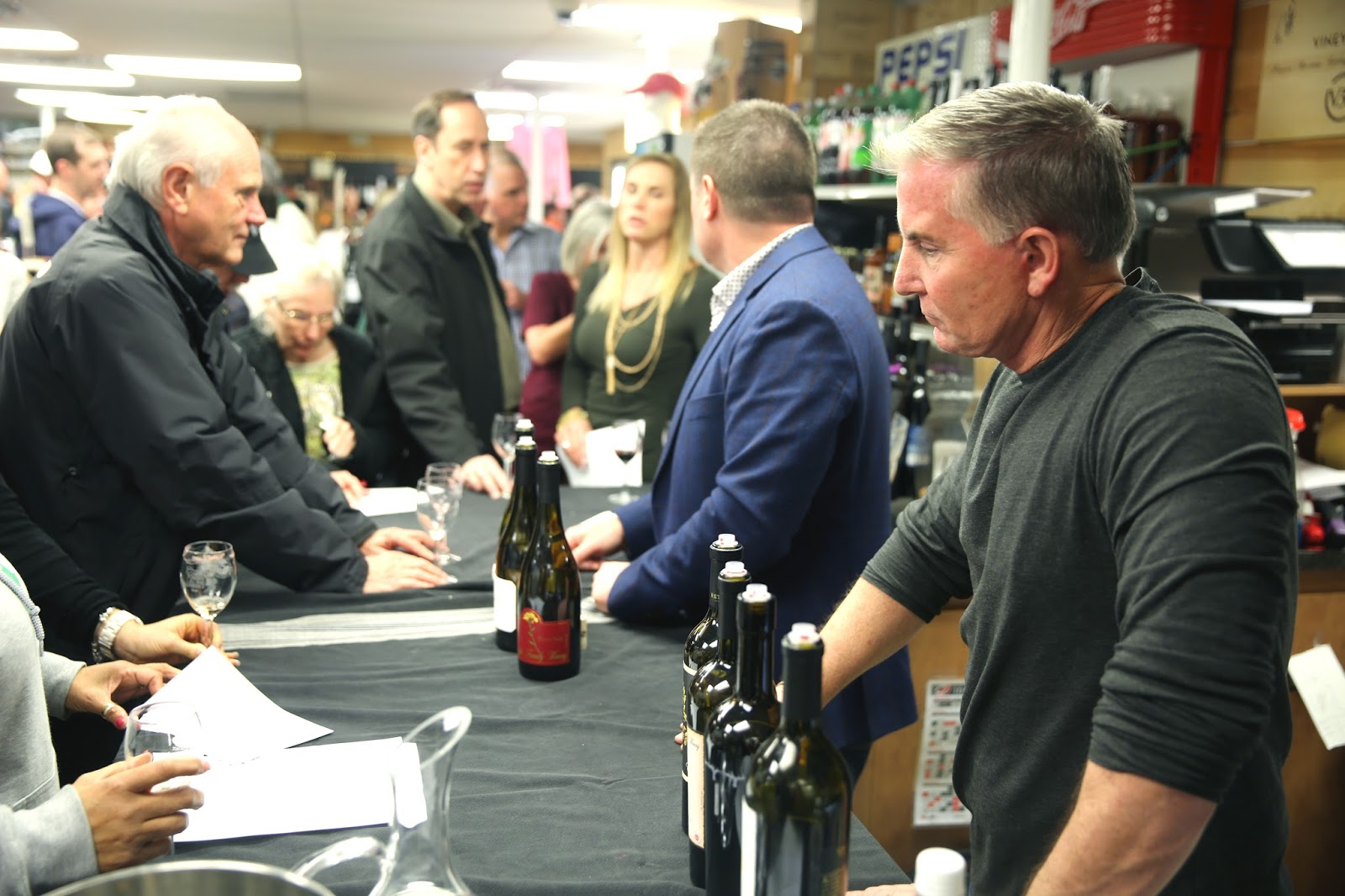 Steve Reynolds, right, of Reynolds Family Winery at Taylor's Wine Shop in Raleigh.