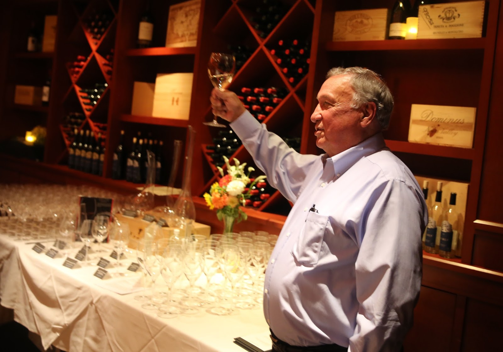 Hank McCrorie of Burly Wines talks about his wines at a wine dinner inside Fleming's Steak House in Raleigh.