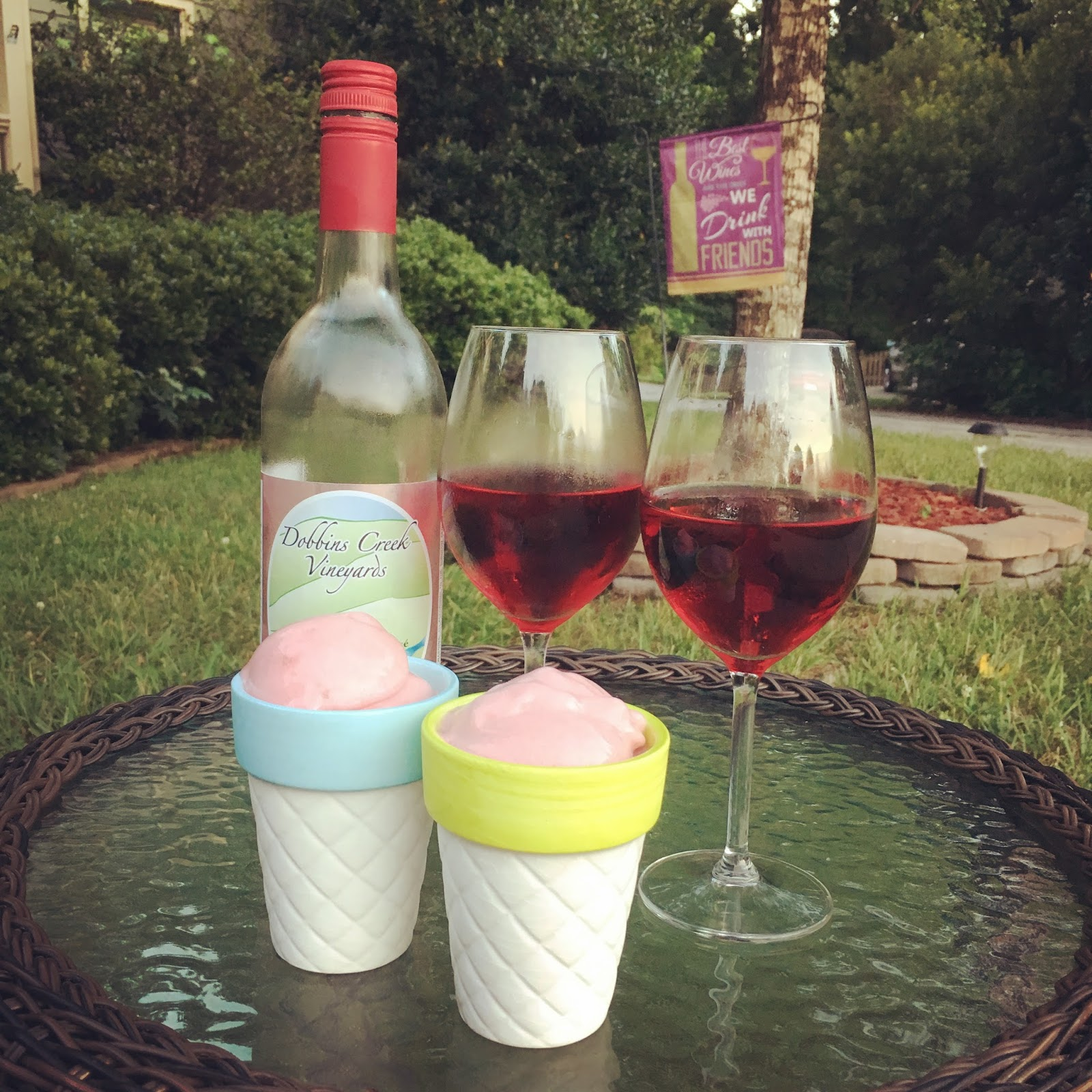 Dobbins Creek Vineyards Hemric Mountain Dry Rosé paired with rhubarb and gin sorbet -