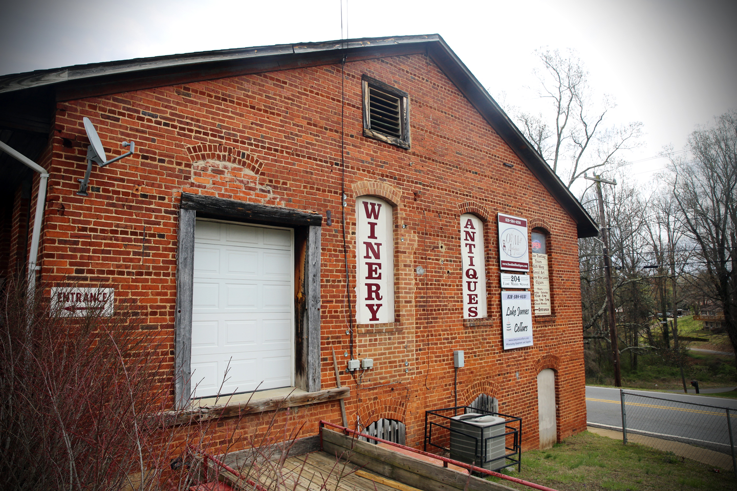 Lake James Cellars is located inside an old textile mill building