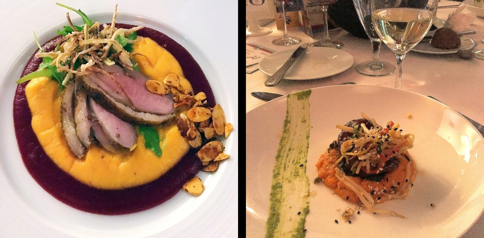 Duck breast with sweet potato and beet puree and braised pork with slaw and sweet potato.