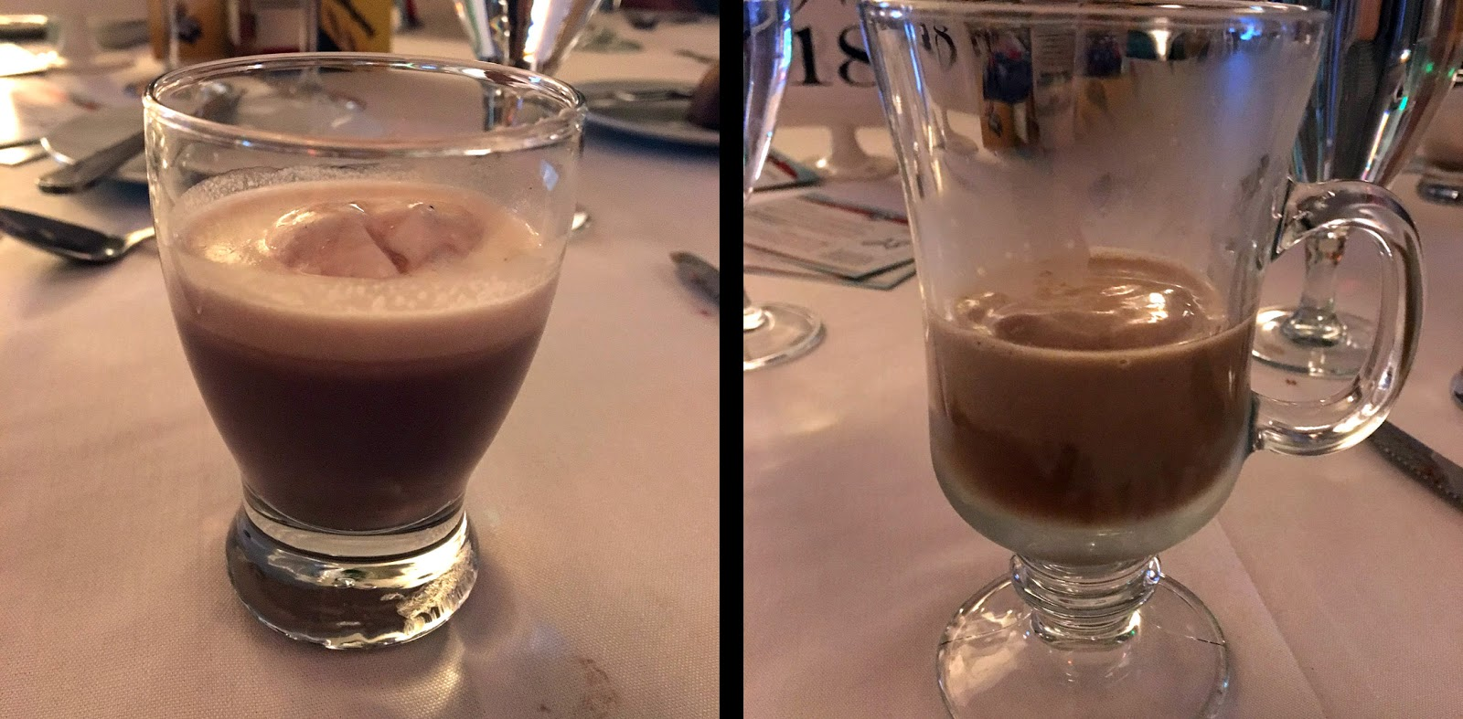 Drinks included a spiked hot chocolate with cherry whipped cream and an Irish coffee paired with desserts.