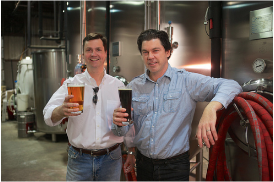 Sean Lilly Wilson, founder of Fullsteam Brewery in Durham, NC and Page Skelton, originator of Cackalacky Sauce based in Chapel Hill, NC are collaborating on a new NC craft beer.  Photo c/o Susan Dosier