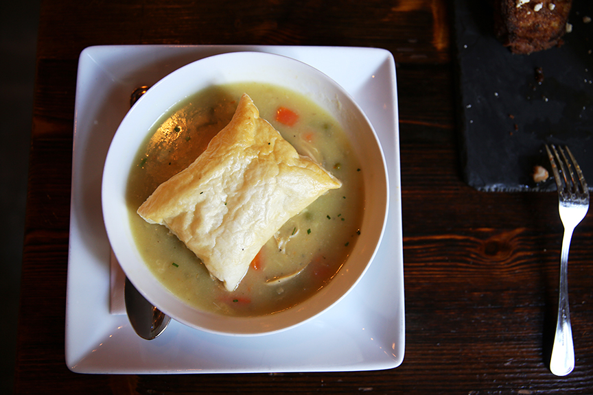 ENTREE: Chicken pot pie, slow cooked vegetables, puff pastry