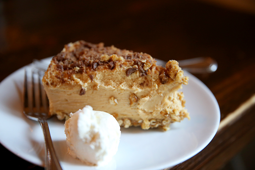 DESSERT: Peanut butter pie, pretzel crust, Heath bar pieces, whipped cream