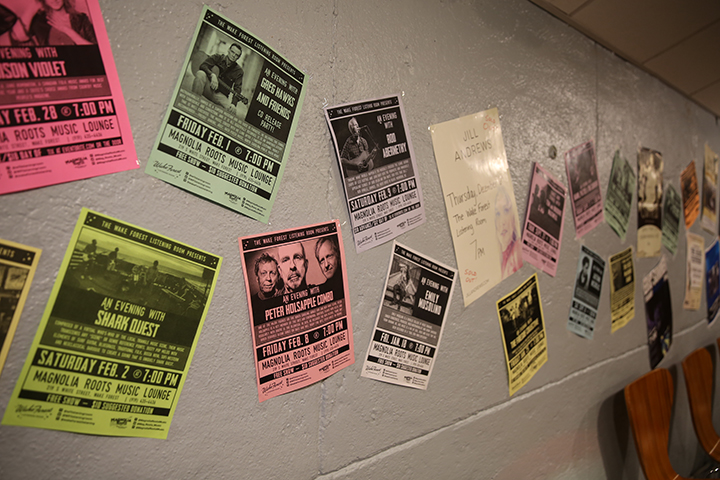 Fliers on the basement's walls are reminiscent to the days of the past.