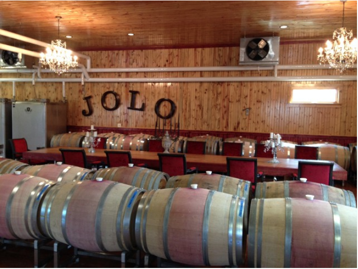 The wine-making room at JOLO can also host private parties to enjoy food and drink.