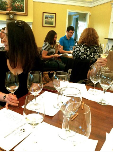 Enjoying the tasting at the Bedford Wine Club