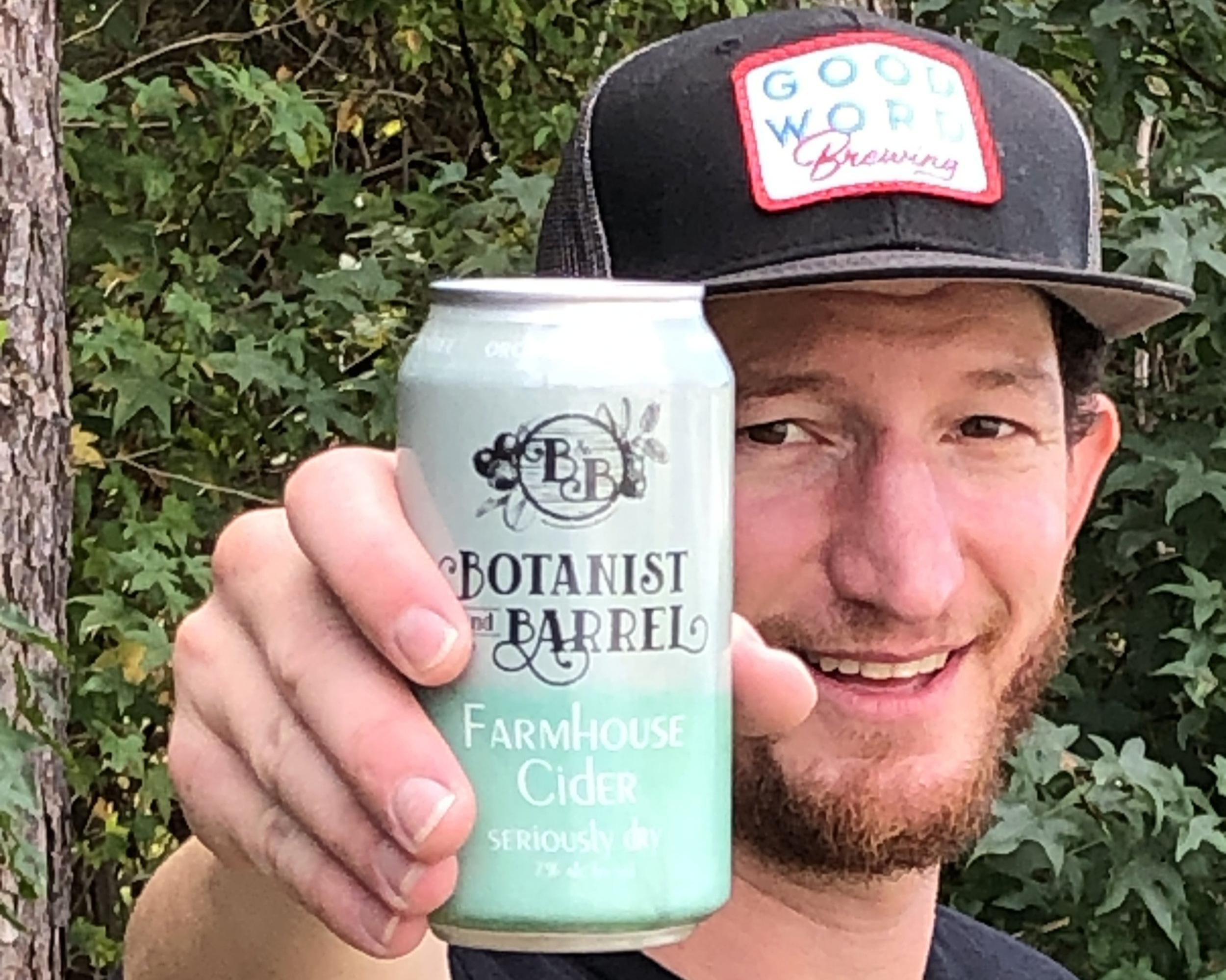 Botanist & Barrel's co-founder Lyndon Smith with a can of Farmhouse Cider Seriously Dry