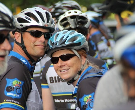 My husband Rollin and I, about to start a 4-day, 500-mile bike ride from Charlotte to dc in memory of fallen police officers