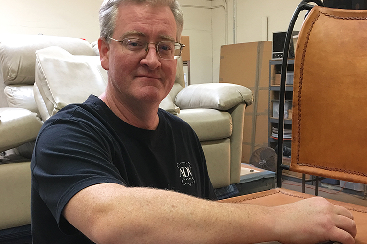 Jason doing what he does best, creating innovative solutions to leather repair problems