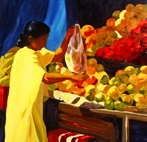 Morning Market: Dharamsala, 42x42, 2006