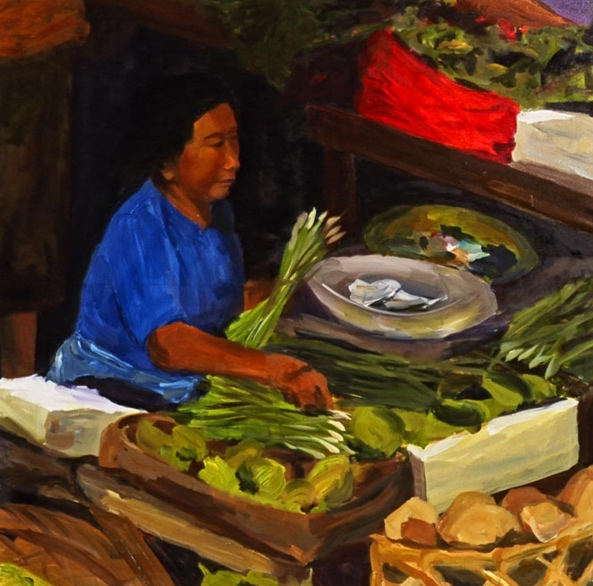 Morning Market: Ubud I, 42x42, 2006