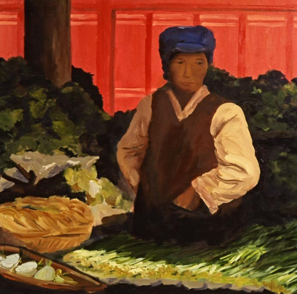 Morning Market: Lijiang, 42x42, 2006
