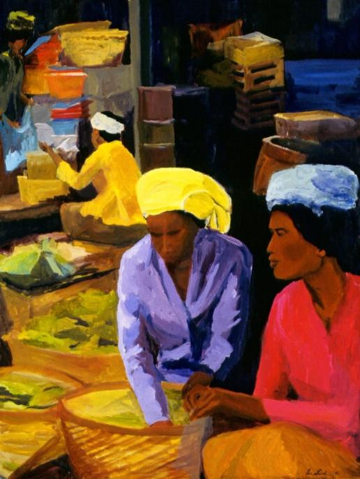 Ubud Market II, 36x48, 2003
