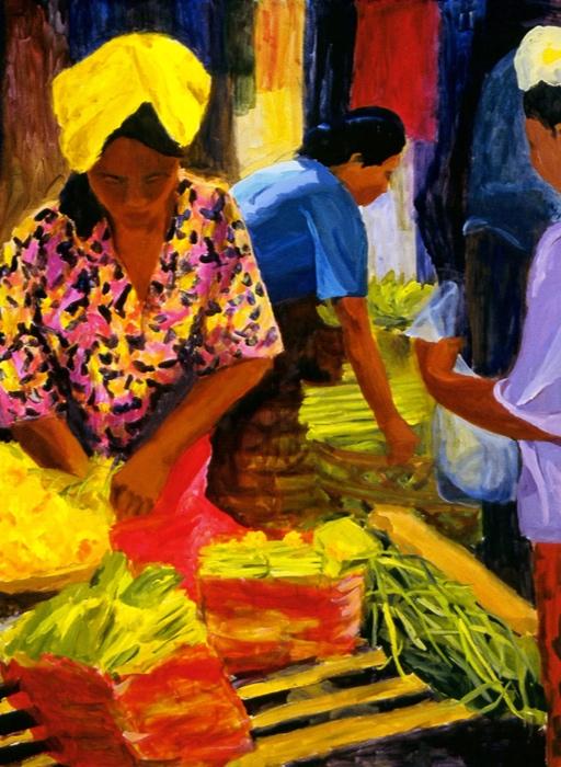 Ubud Market I, 36x48, 2003