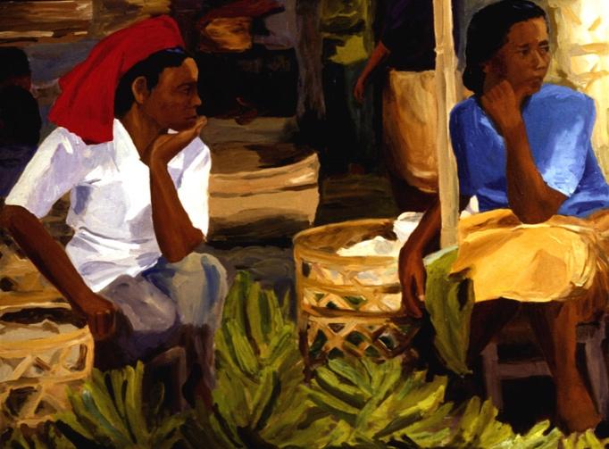Ubud Market III, 36x48, 2002