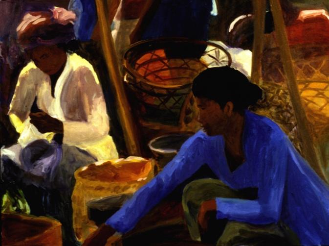 Ubud Market V, 36x48, 2002