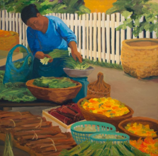 Morning Market: Luang Prabang, 42x42, 2014