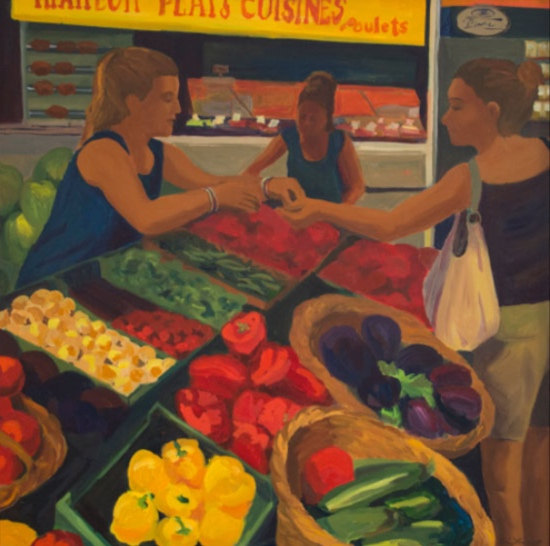 Morning Market St. Jean de Luz, 42x42, 2014