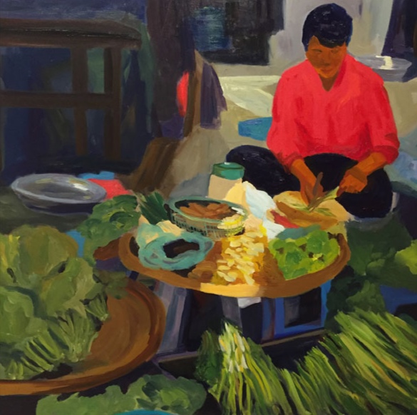 Morning Market, Phnom Penh, 42x42, oil on canvas 2017