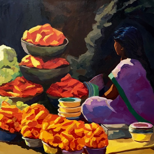 Morning Market, Bangalore I, 42x42, oil on canvas 2017