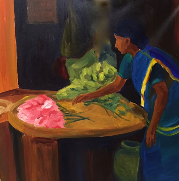 Morning Market, Bangalore II, 42x42, oil on canvas 2017